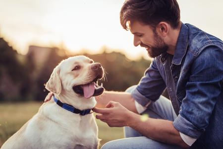 래브라도 야외에서 잘 생긴 젊은 남자. 강아지 래브라도 리트리버와 푸른 잔디에서 남자.
