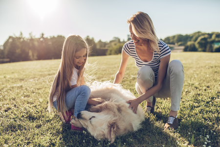 Attractive young woman and her little cute daughter are having fun with dog outdoors. Happy mother and daughter are sitting on green grass in park with golden retriever labrador.