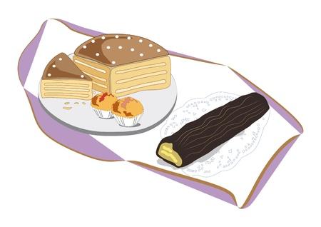 plato del buen comer: Sistema agradable de la torta, magdalenas y la Navidad menú delicioso pastel para compartir con familiares y amigos mantel elegante y acogedor decoración postres caseros tradicionales Vectores