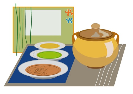 dinning table: Stews and soups for a family meal  Ideal for oriental restaurants that want to distinguish by design