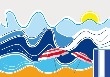 beach hut: Big waves, beach, sun shining, two parasols and a beach hut in a summertime scene