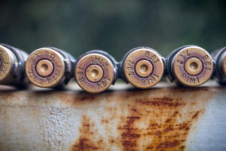 High Caliber Bullets on Belt Stock Photo