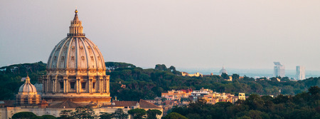 Panorama Of Rome St. Peter's Basilica and Green Landscape Sunset Lighting