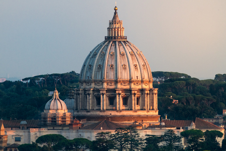 VIew of St Peters Dome At Sunset, Beautiful Detail and Light