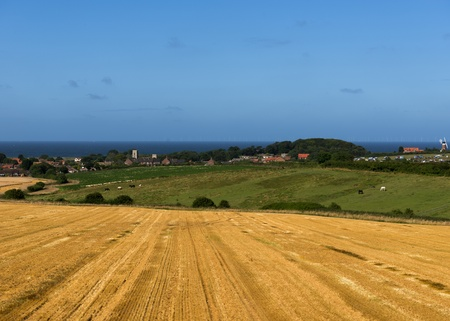 Idealic countryside coastal location with golden crop fields near a village over looking the sea