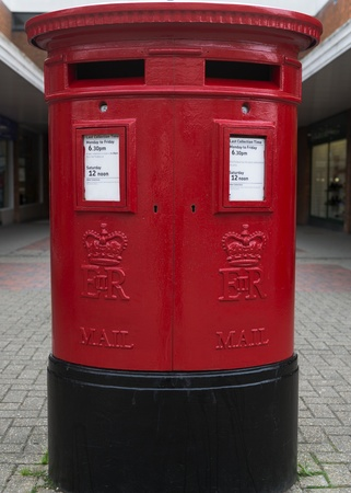 British red post box with two posting slots to separate first and second class postage