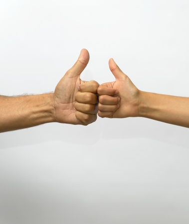 Two hands in thumbs up jesture with space below for text
