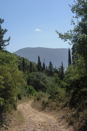 Walking along a dirt track on the greek island of kefalionia