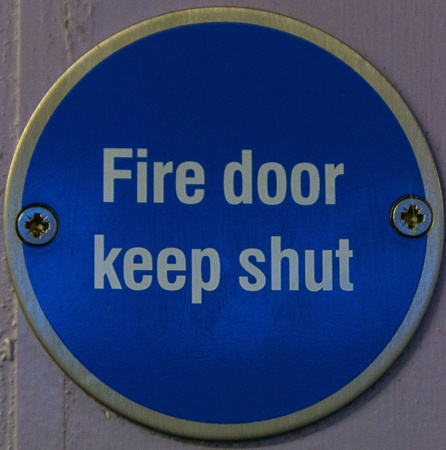 Blue Fire Door Keep Shut Sign  photo