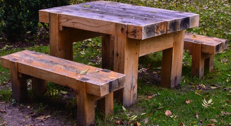 Wooden picnic table in Autumn