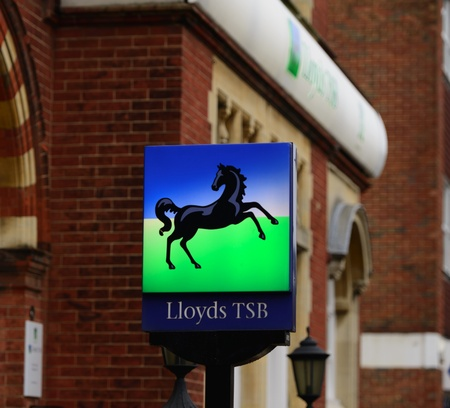 Lloyds TSB Logo sign outside branch in England