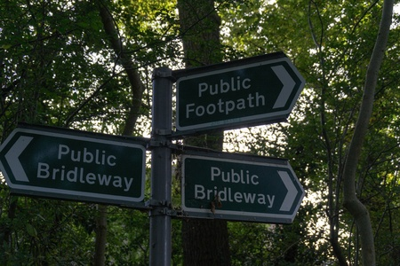 Public Footpath   Bridleway sign Stock Photo