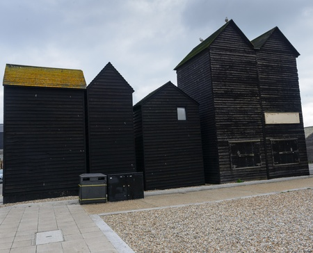 hastings: Black Fishing Huts in Hastings, South East England Stock Photo