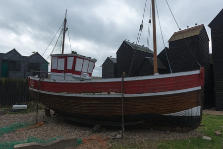 hastings: Old Red  and White Fishing Boat