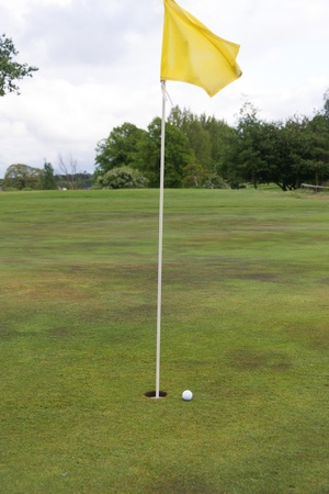 golf ball close to a hole with the flag in place