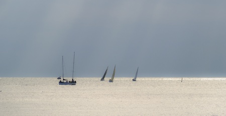 Sailing boats off Brighton  UK  coast