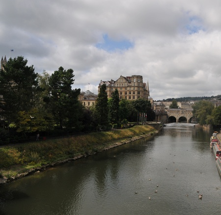 Along the river to Bath in Avon   Somerset England