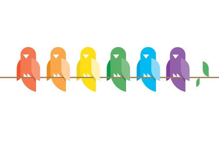 simple life: Family of birds in rainbow colors sitting on a tree branch with green leaves  Stylish design illustration with copy space for your text  Illustration