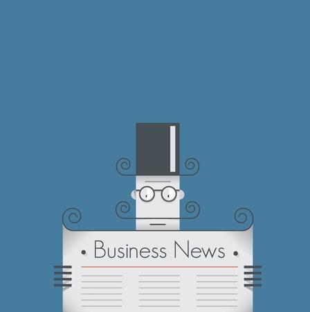 oude krant: Old school retro zakenman met snor lezen van zakelijk nieuws krant vintage stijl illustratie met kopie ruimte voor uw zakelijke tekst