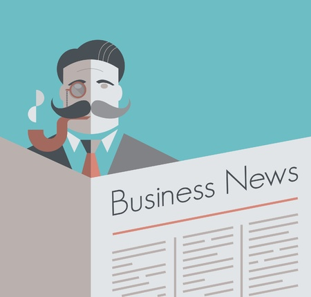 Old school businessman with a monocle and smoking pipe reading Business News newspaper  Vintage style illustration  With copy space for your business text   Vector