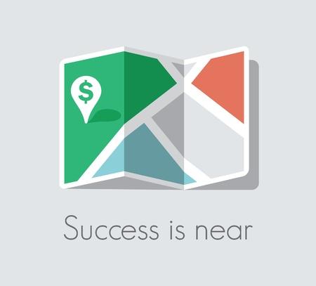 El éxito está en las inmediaciones Mapa y el pasador del puntero con el signo de dólar verde El éxito del negocio y el concepto de la suerte Ilustración de vector