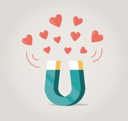 Abstracte magneet aantrekken van liefde harten Concept voor liefde op het eerste gezicht, wederzijdse liefde