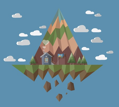 Flying island with little house with chimney smoke hearts  Vector