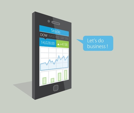 dow:  illustration of a mobile phone with stock market business diagrams on the display, saying Let s do business