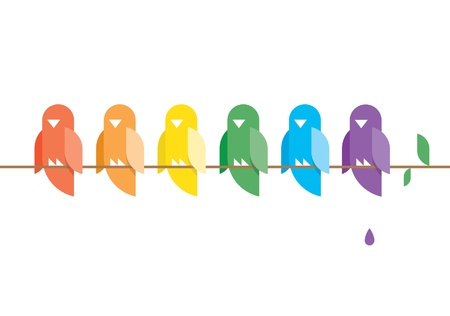 Family of birds in rainbow colors sitting on a tree branch with green leaves  And bird poop  Stylish design illustration with copy space for your text  Vector