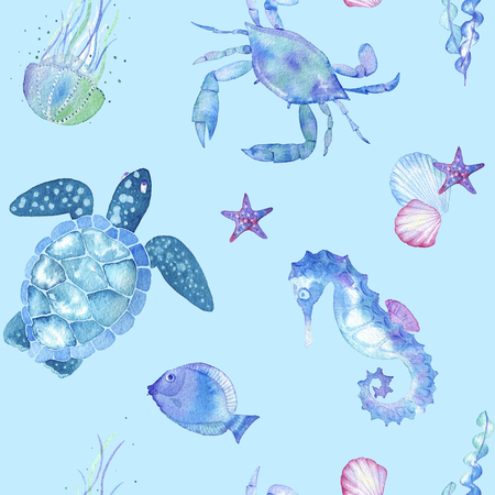 hand drawn watercolor seamless pattern made of figures of sea creatures
