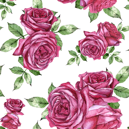hand drawn watercolor seamless pattern with beautiful vintage roses
