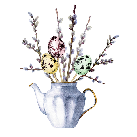 hand painted watercolor bouquet of spring flowers in a porcelain teapot