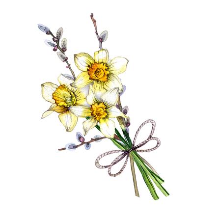 hand painted watercolor bouquet of spring flowers Reklamní fotografie