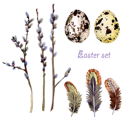 hand drawn Easter set consisting of willow branches, eggs and feathers