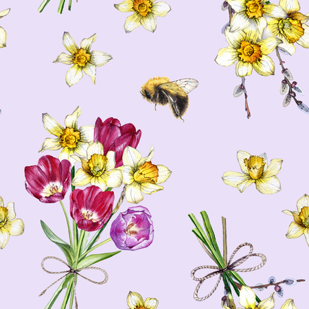 hand drawn watercolor seamless spring pattern