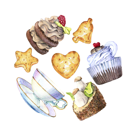 Hand drawn watercolor set of cakes, biscuits and tea cups