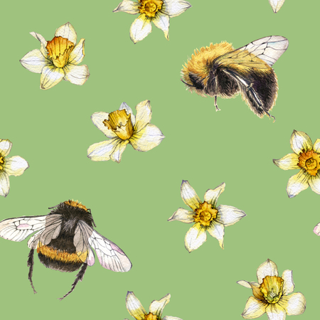 Hand drawn watercolor seamless pattern made of daffodils and bumblebee
