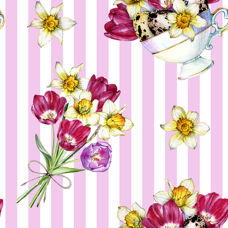 Hand drawn watercolor seamless pattern made of spring flowers and bouquets