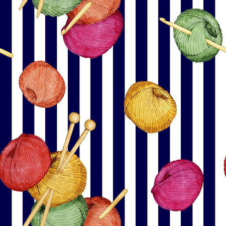 hand drawn watercolor seamless pattern consisting of knitting accessories Reklamní fotografie - 96128370