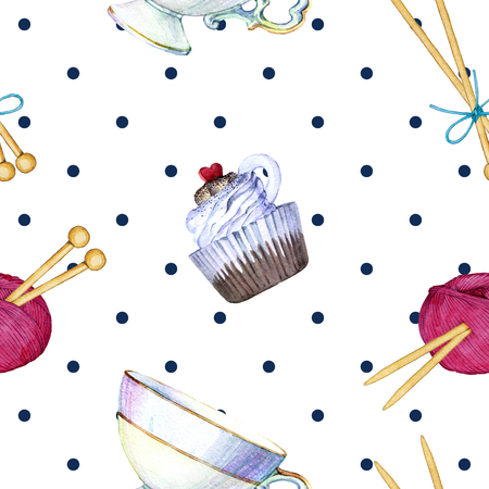 hand drawn watercolor seamless pattern consisting of knitting accessories Reklamní fotografie - 96140948