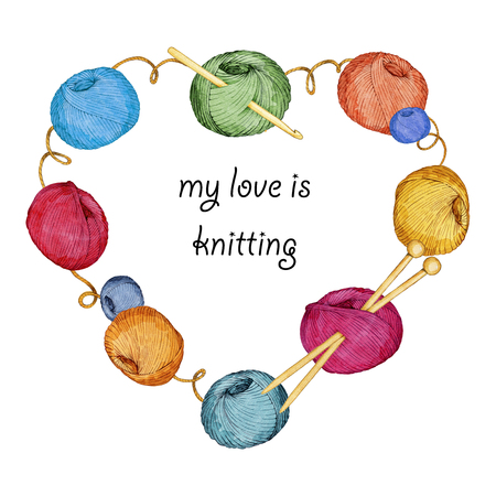 hand drawn watercolor heart-shaped wreath consisting of knitting accessories Reklamní fotografie