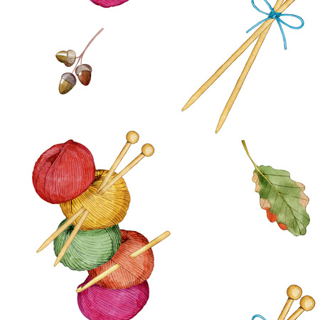 Hand drawn watercolor seamless pattern consisting of knitting accessories