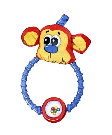 Hand drawn watercolor children toy clack