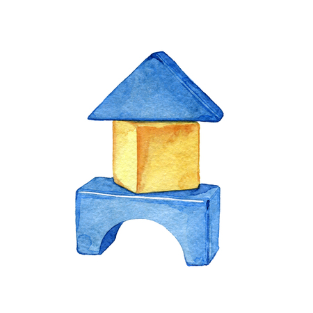 Hand drawn watercolor children toy cubes