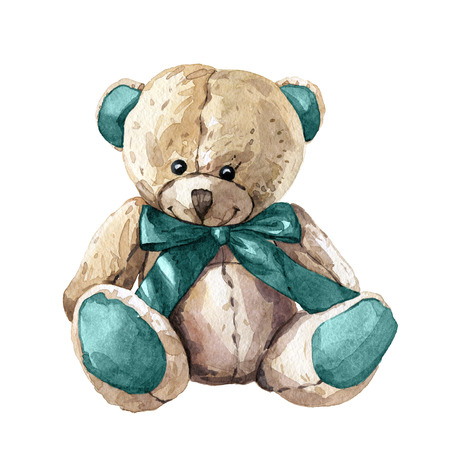 Hand drawn watercolor children toy teddy bear Stockfoto