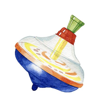 Hand drawn watercolor children toy whirligig