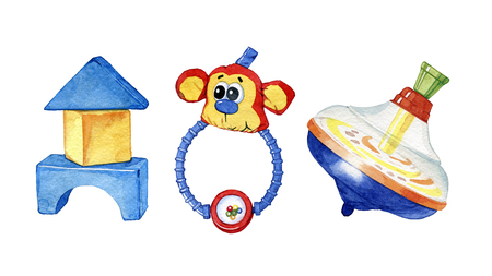 Set of hand drawn watercolor children toys