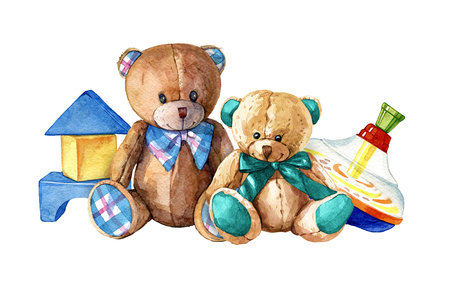 hand drawn watercolor composition of childrens toys