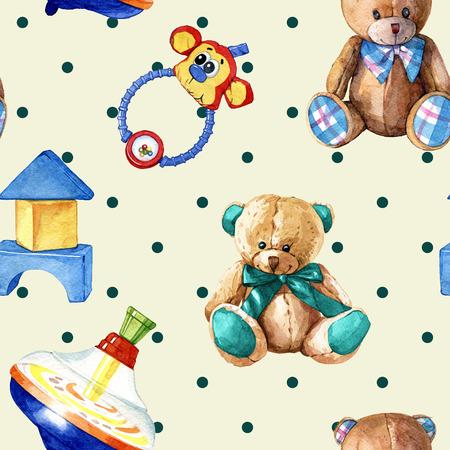 hand drawn watercolor seamless pattern of childrens toys Reklamní fotografie