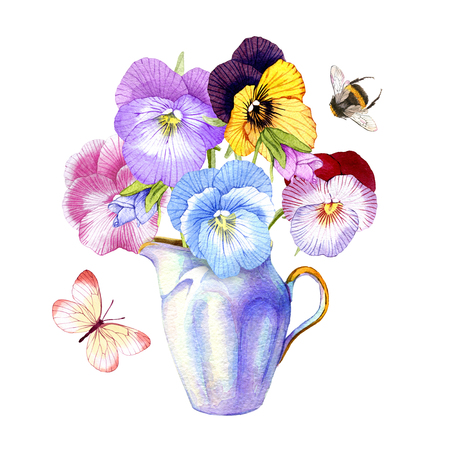 hand drawn watercolor Pansy bouquet in a vintage vase